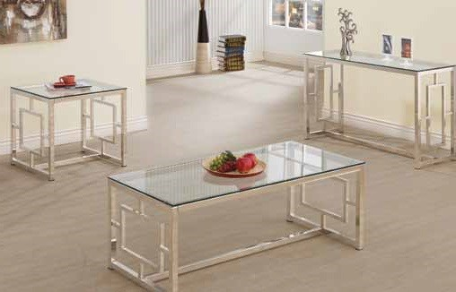 Contemporary Satin Glass Metal 3pc Coffee Table Set CST-703737-8-9-OCT-S