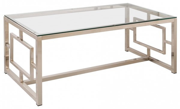 Contemporary Satin Glass Metal Coffee Table CST-703738