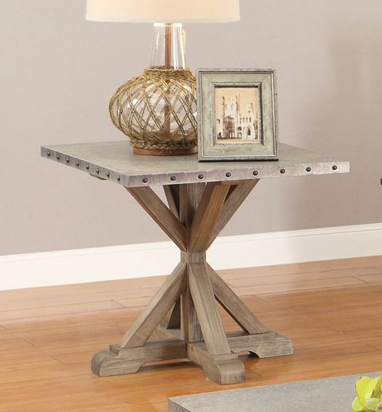 Rustic Driftwood Wood Metal Distressed Finish End Table CST-703747
