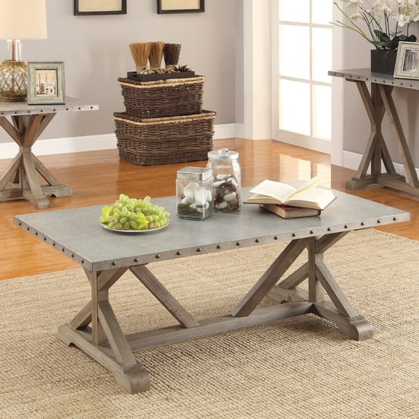 Rustic Driftwood Wood Metal 3pc Coffee Table Set CST-703747-48-GRP