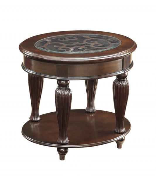 coaster furniture dark merlot wood glass oval end table with shelves the classy home. Black Bedroom Furniture Sets. Home Design Ideas
