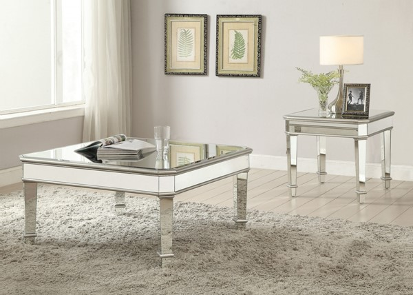Contemporary Silver Glass Coffee Table Set CST-703937-BNDL