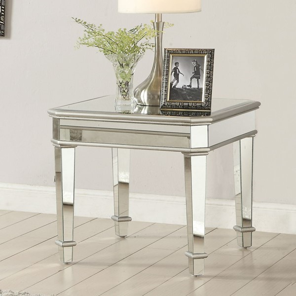Contemporary Silver Glass Square End Table CST-703937