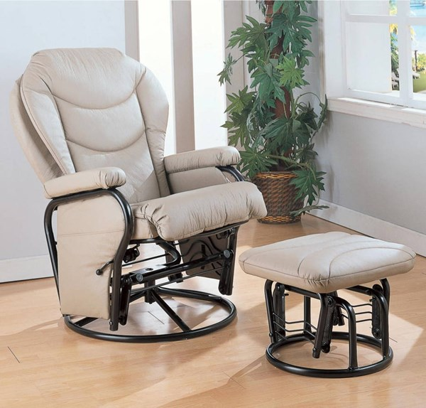 Casual Bone Leatherette Glider Swivel W/Ottoman CST-7040