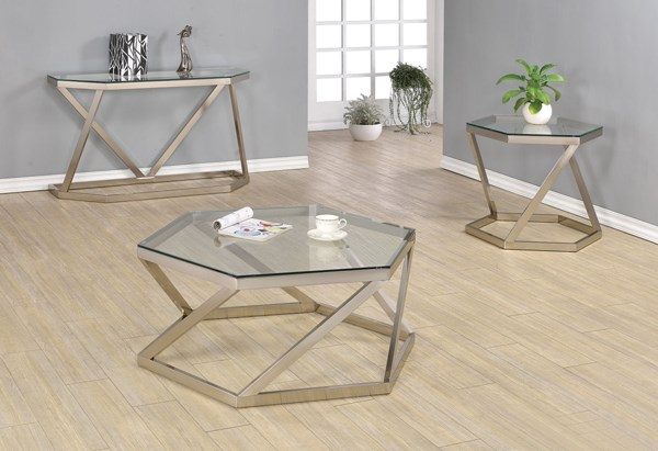 Contemporary Nickel Glass Metal 3pc Coffee Table Set CST-704007-08-09