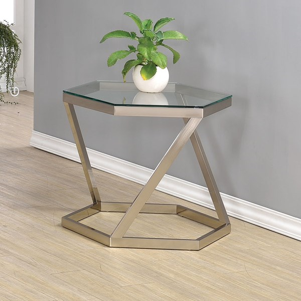 Contemporary Nickel Glass Metal End Table CST-704007