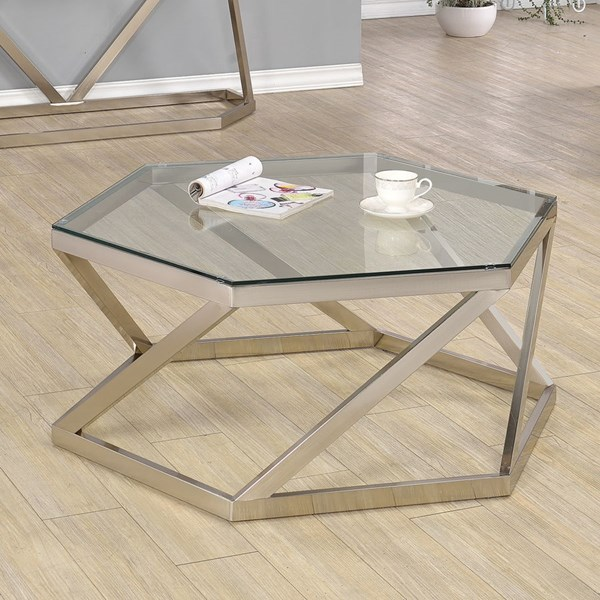 Contemporary Nickel Glass Metal Coffee Table CST-704008