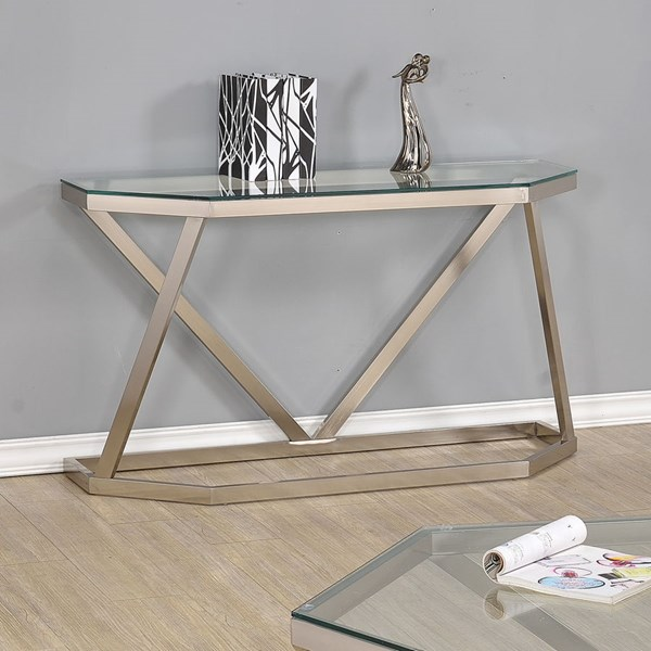 Contemporary Nickel Glass Metal Sofa Table CST-704009