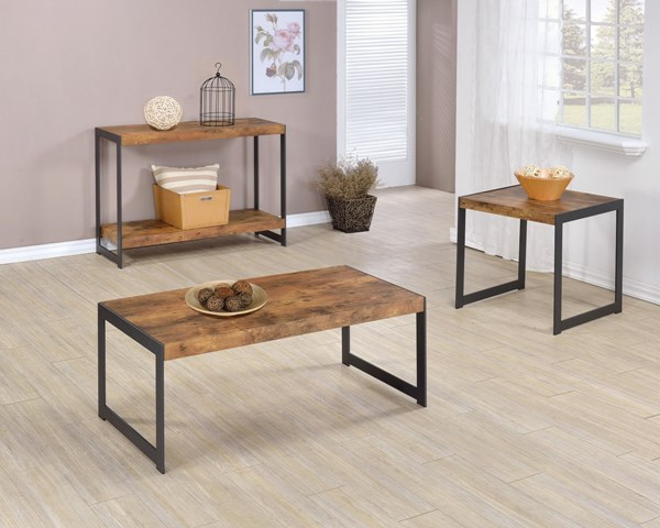 Rustic Nutmeg Gunmetal Wood Metal Coffee Table Set CST-704027-BNDL