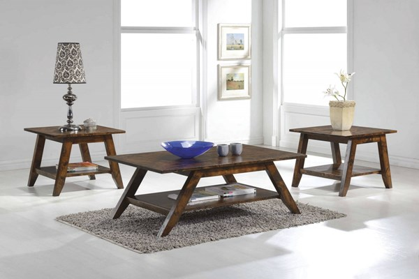 Modern Rustic Pecan Wood Storage Shelves Coffee Table Set CST-70403-OCT