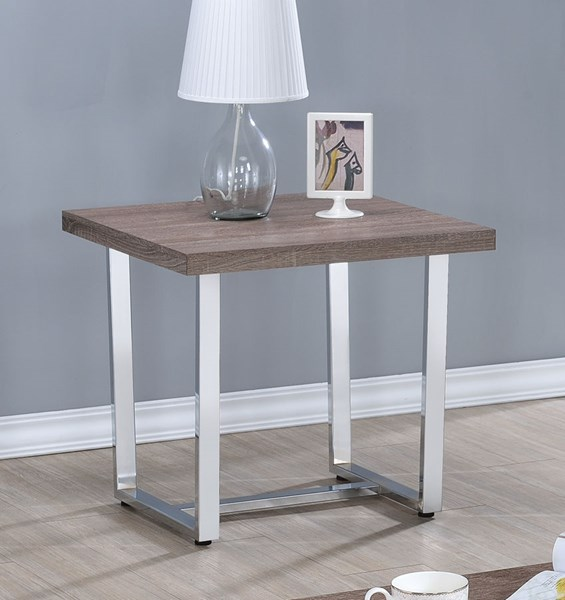 Contemporary Taupe Chrome Wood Metal End Table CST-704187