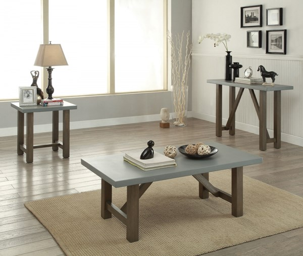 Rustic Wood Coffee Table Set W/Driftwood Color CST-704247-BNDL