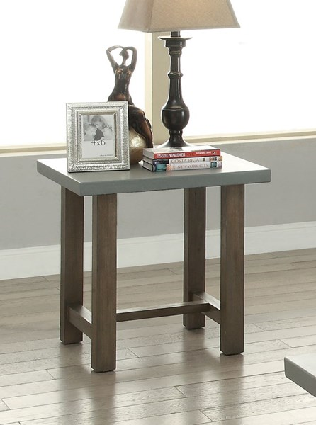 Rustic Wood Rectangle End Table w/Driftwood Color CST-704247