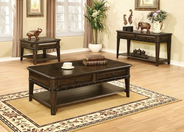 Dull Black Wood 3pc Coffee Table Set W/Shelves CST-704257-58