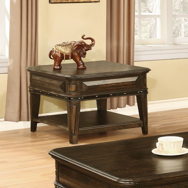 Dull Black Wood End Table w/Below Storage Shelves CST-704257