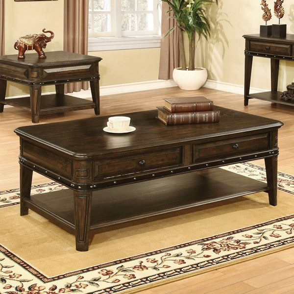 Dull Black Wood Coffee Table w/Below Drawers & Storage Shelves CST-704258