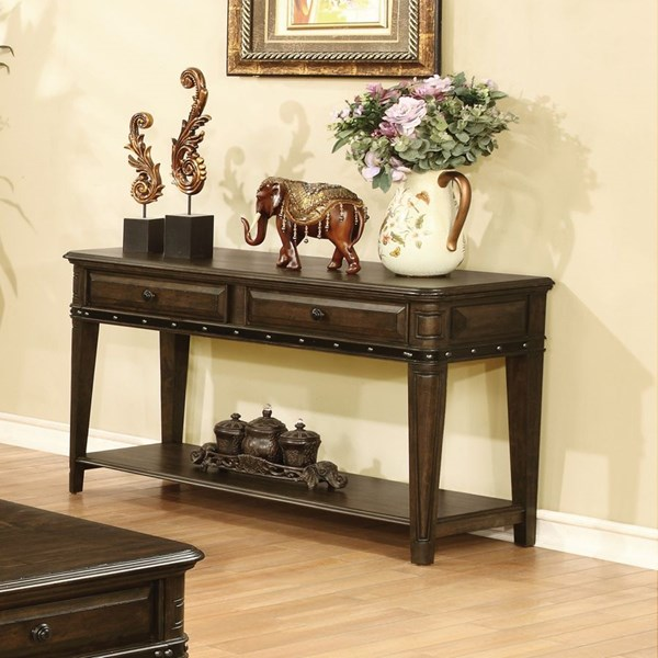 Dull Black Wood Sofa Table w/Below Drawers & Storage Shelves CST-704259