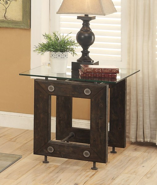 Brown Black Glass Metal Square End Table CST-704277
