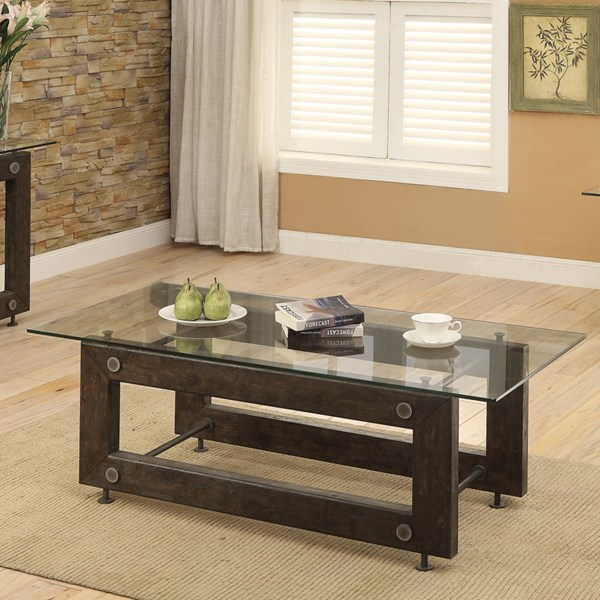 Brown Black Glass Metal Rectangle Coffee Table CST-704278