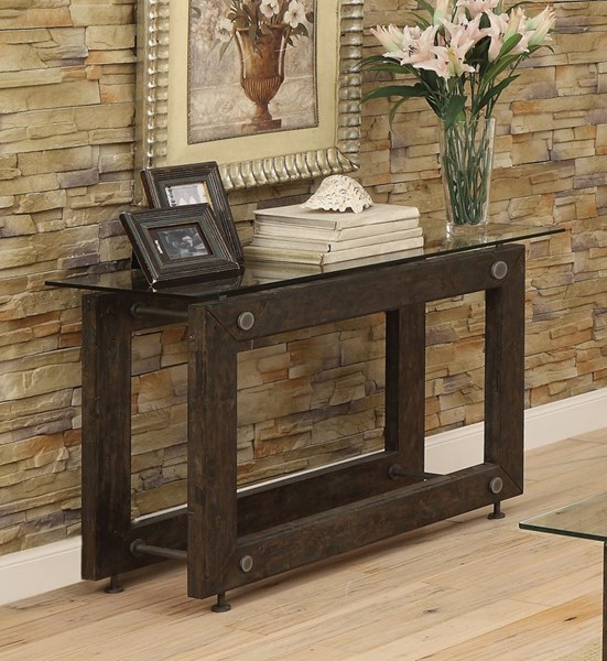 Brown Black Glass Metal Rectangle Sofa Table CST-704279