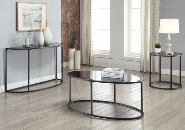Contemporary Glass Metal Coffee Table Set w/Gunmetal Color CST-704397-BNDL