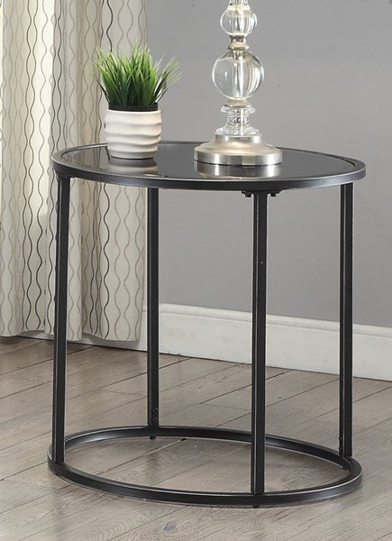 Contemporary Glass Metal End Table w/Gunmetal Color CST-704397