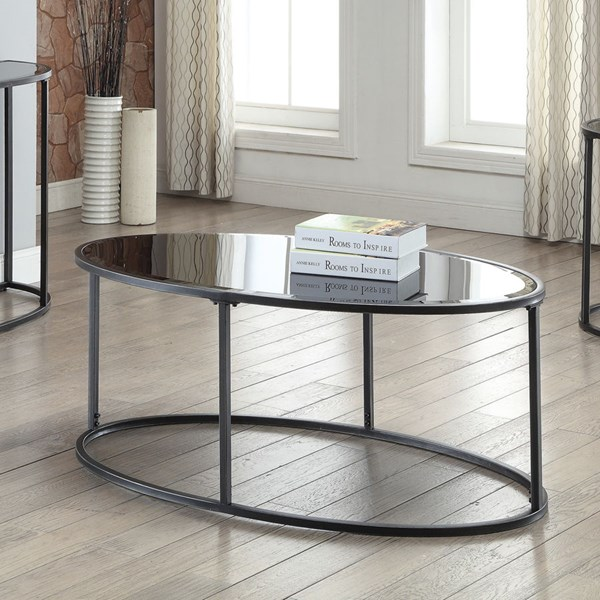 Contemporary Glass Metal Coffee Table w/Gunmetal Color CST-704398