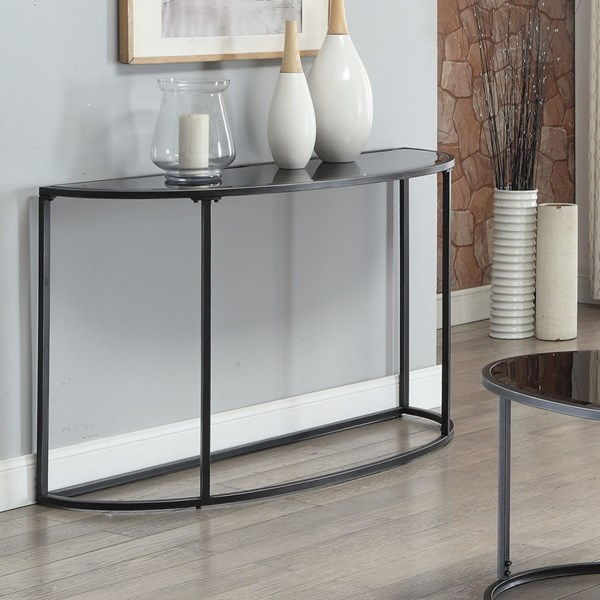 Contemporary Glass Metal Console Table w/Gunmetal Color CST-704399