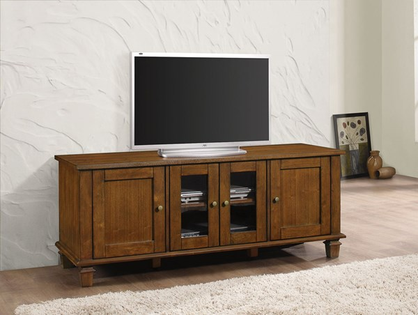 Warm Brown Wood TV Console w/Four Door Storage CST-704401