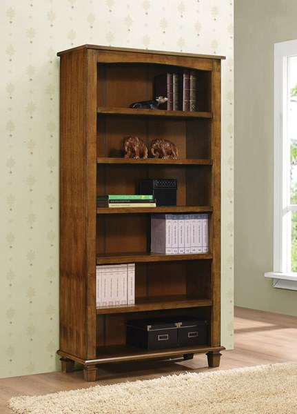 Warm Brown Wood Fixed Shelves Media Tower CST-704402