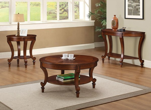 Transitional Warm Brown Wood Coffee Table Set CST-704407-BNDL