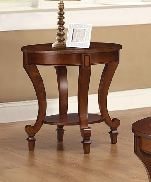 Transitional Warm Brown Wood Round End Table CST-704407