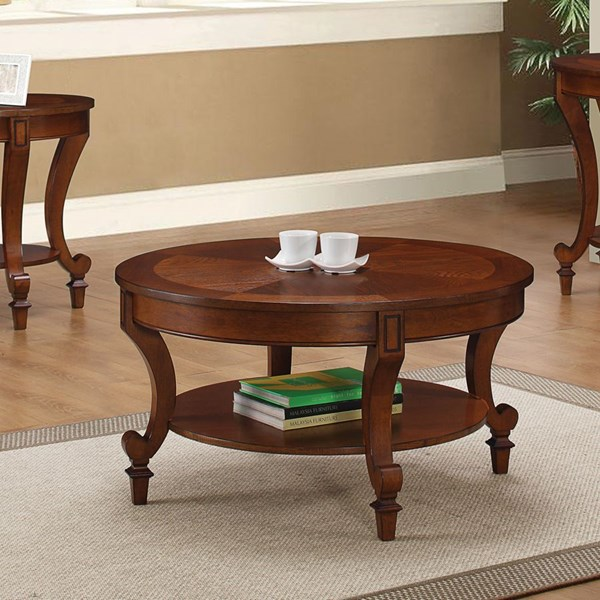 Transitional Warm Brown Wood Coffee Table CST-704408