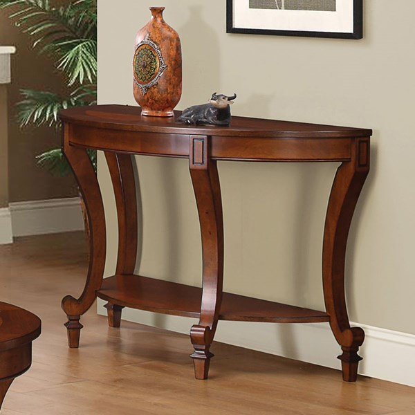 Transitional Warm Brown Wood Half Round Sofa Table CST-704409