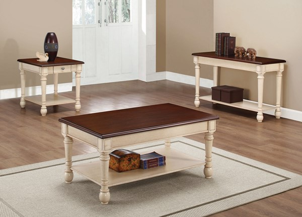 Transitional Dark Brown Antique White Wood Coffee Table Set CST-704417-BNDL