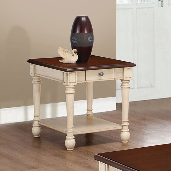 Transitional Dark Brown Antique White Wood End Table CST-704417