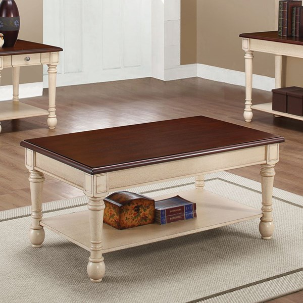 Coaster Furniture Dark Brown Antique White Wood Coffee Table CST-704418