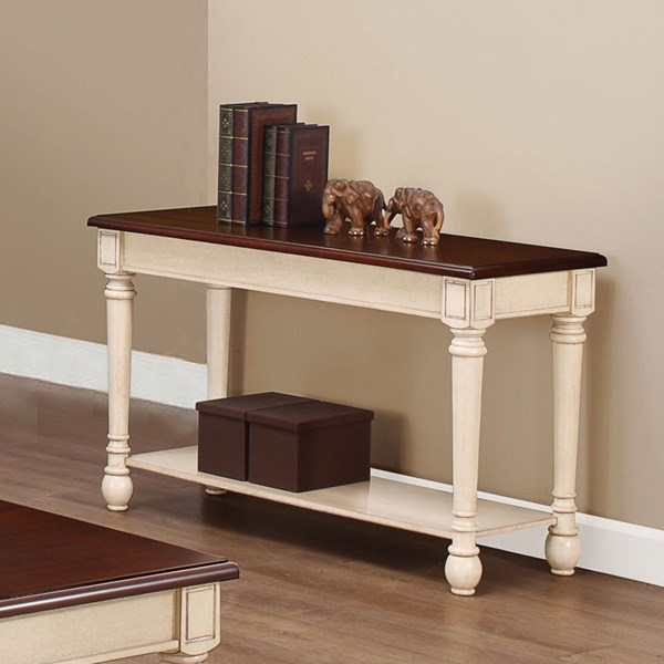 Transitional Dark Brown Antique White Wood Sofa Table CST-704419