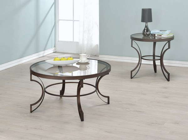 Transitional Bronze Metal Cleared Tempered Glass 3pc Coffee Table Set CST-70445-OCT-S1