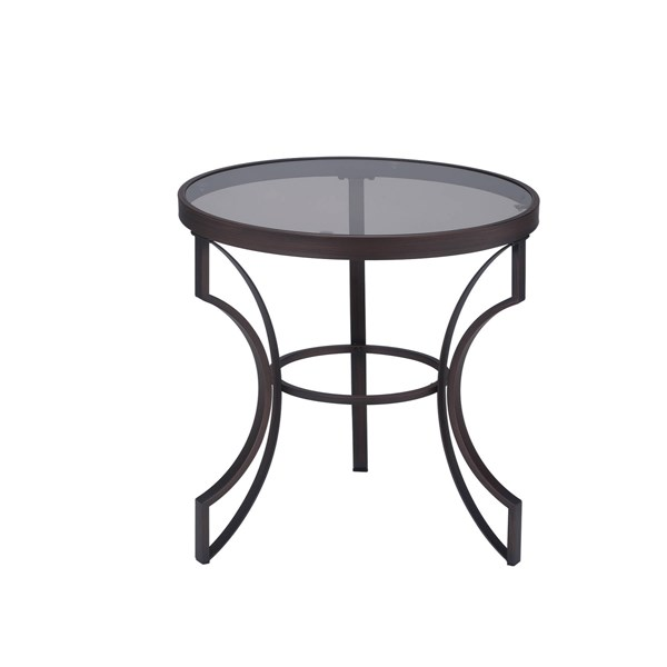 Transitional Bronze Metal Cleared Tempered Glass Top End Table CST-704457