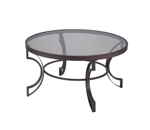 Transitional Bronze Metal Cleared Tempered Glass Top Coffee Table CST-704458