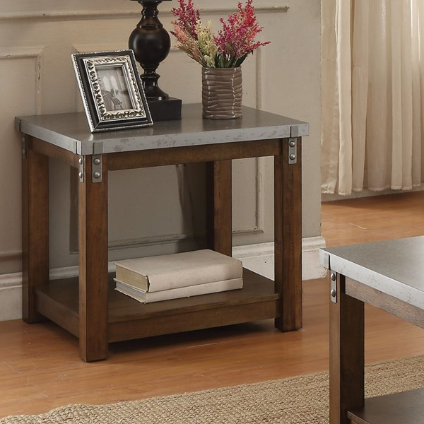 Rustic Amber Metal Wood Rectangle End Table CST-704547