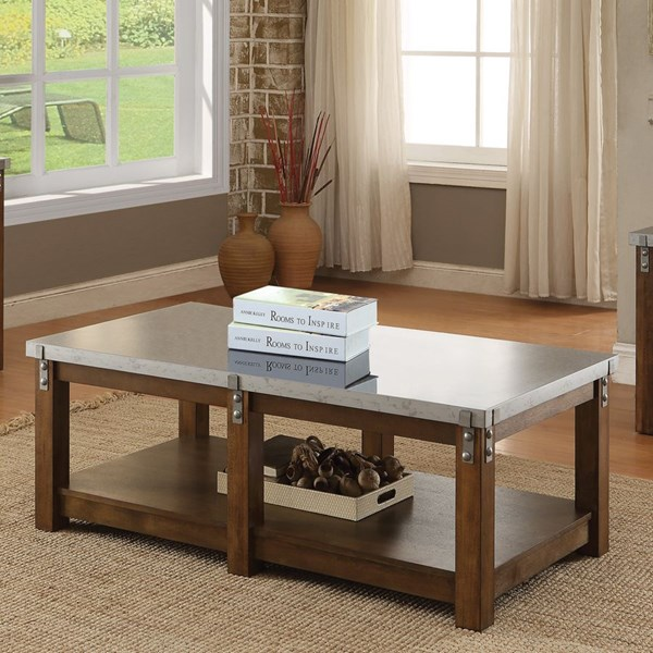 Rustic Amber Metal Wood Shelves Coffee Table CST-704548