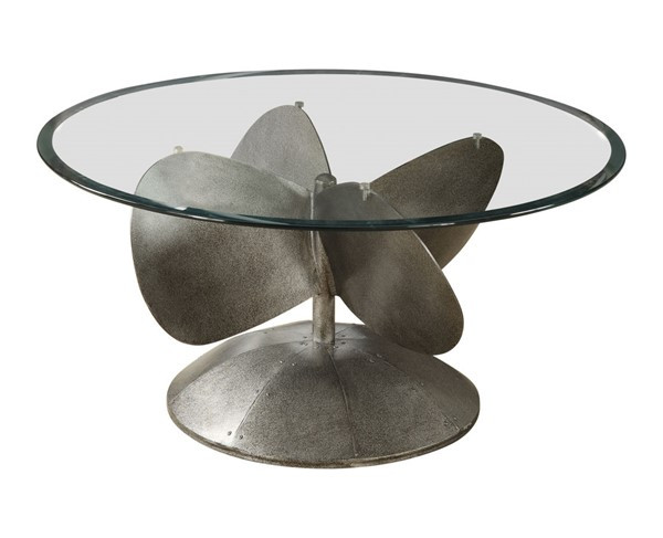 Coaster Furniture Grey Glass Metal Round Coffee Table CST-704558