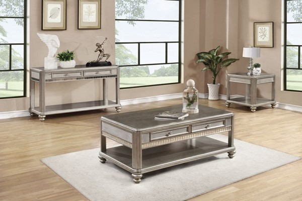 Bling Metallic Platinum Wood 3pc Coffee Table Set CST-704617-18