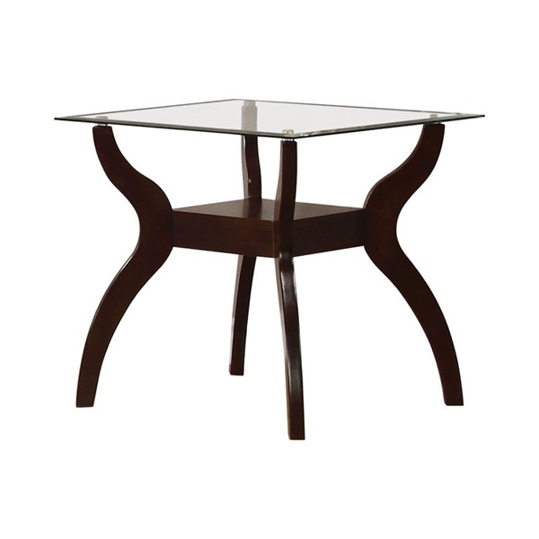 Coaster Furniture Cappuccino Glass Shelves End Table CST-704627