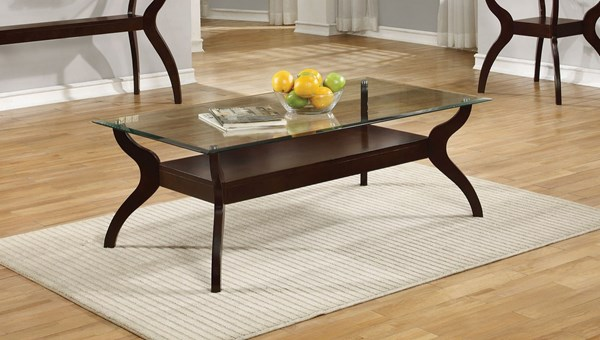 Coaster Furniture Cappuccino Glass Shelves Coffee Table CST-704628