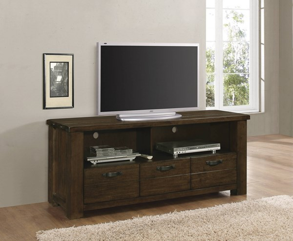 Rustic Pecan Wood Two Storage Compartment & Three Drawers TV Console CST-704741