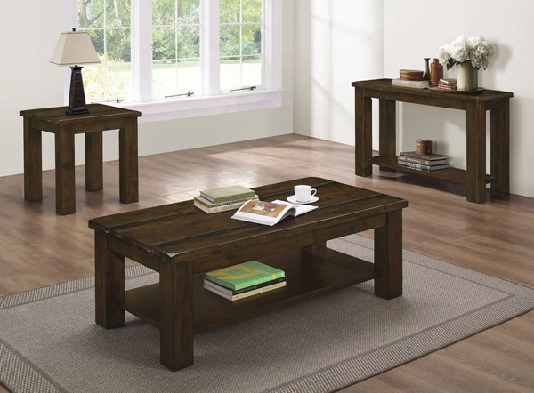 Rustic Pecan Solid Asian Hardwood One Storage Shelf Coffee Table Set CST-70474-OCT