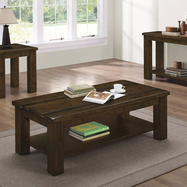 Rustic Pecan Solid Asian Hardwood One Storage Shelf Coffee Table CST-704748
